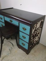 Rustic Cowhide Desk Newly Reinvented by Panther Creek Dark wood & Turquoise with chair in Fort Leonard Wood, Missouri