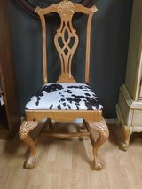 6 Dining Chairs with faux cowhide seats All new upholstery Great farmhouse rustic style in Fort Leonard Wood, Missouri