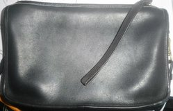 vintage 1980's coach purse black leather convertible clutch cross body shoulder bag in Naperville, Illinois