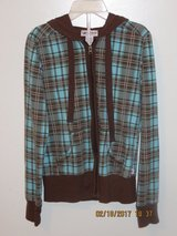 Juniors Brown/Turquoise Plaid Zipper Front Hoodie by Self Esteem - Size Medium in Glendale Heights, Illinois
