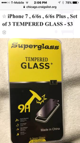 iPhone 7 ,6/6s ,6/6s Plus  screen protector TEMPERED GLASS - $3 in Chicago, Illinois