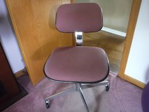 Desk Chair Mauve Fabric with Stainless legs on casters - no arms - Adjustable in Aurora, Illinois