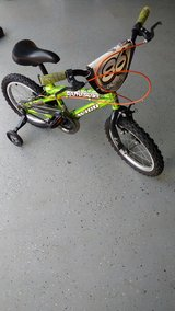 "16"" green bike with training wheels in Camp Lejeune, North Carolina"