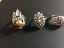 3 Vintage Rhinestone/Crystal Rings - Sterling Silver in Glendale Heights, Illinois