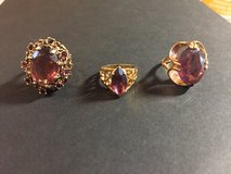 3 Vintage Amethyst & Gold Cocktail Rings in Glendale Heights, Illinois