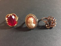 3 Vintage Rings - Garnet Gemstone, Cameo and Amethyst & Crystal - Gold Bands in Glendale Heights, Illinois