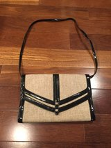 Straw & Black Patent Leather Purse  Handbag with Black Shoulder Strap in Chicago, Illinois