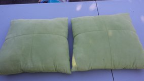 2 SUEDE GREEN PILLOW ; LAMP ; BASKET in Wilmington, North Carolina
