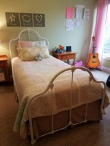 Beautiful White Iron twin bed with additional pull out twin trundle in Aurora, Illinois