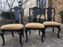 : ) Set of 3 Black Wood Dining Chairs w/Tan Neutral Upholstered Seat >>> in Aurora, Illinois