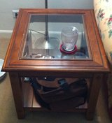 Matching Wood End Tables with Glass Tops in Aurora, Illinois