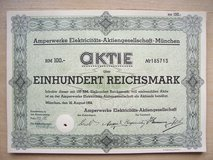Three old German Stock Certificates (1925, 1934, and 1942) in Mannheim, GE