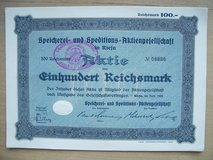 The three German stock certificates are: in Mannheim, GE