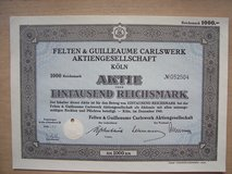 Three old German Stock Certificates (1930, 1935, and 1941) in Ramstein, Germany