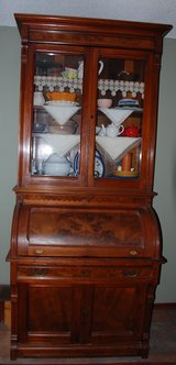 Secretary, Eastlake/Victorian carved and burled walnut in bookoo, US