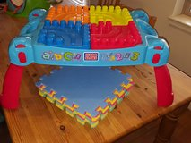 Mega blocks table and foam playmat in Fort Irwin, California