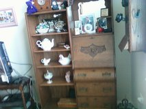 Ornate Victorian Oak (tiger) Side-by-Side Secretary Drop down Desk / Bookcase or 5 shelves for b... in Lockport, Illinois