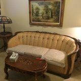 French rococo period upholstery 3 cushion couch w/walnut very detailed on back and side arm area... in Lockport, Illinois