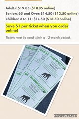 8 Brookfield Zoo tickets in Lockport, Illinois