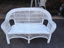 Used white outdoor wicker furniture set in Naperville, Illinois