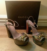 GUCCI Nizza Laser Fawn Heels/Sandals in Warner Robins, Georgia