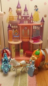 disney princess castle+cinderella and ariel carriages+ 5dolls+furnitures in Wilmington, North Carolina