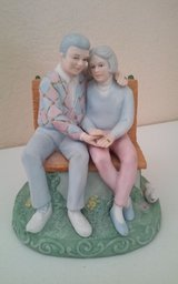 Man & Woman Sitting on Bench Musical Figurine in Conroe, Texas
