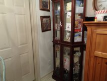 unique curio cabinet 6 shelf 4 doors and etched glass in Wilmington, North Carolina