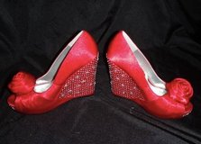 Red Satin and Diamond Wedges -Brand New in Camp Pendleton, California
