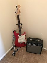 Red Fender electric guitar with 15 g amp in Glendale Heights, Illinois