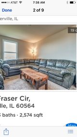Leather l-shaped couch ( 5 section ) in Batavia, Illinois