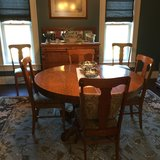 Antique Oak Dining Set (Table With 2 Leaves, 6 Chairs, and Sideboard) in Fort Polk, Louisiana