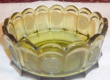 "Vintage Fostoria olive green coin glass 7.5"" scalloped bowl in Alamogordo, New Mexico"