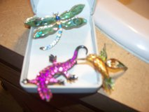 antique brooches/humming bird dragon fly lizzard in Morris, Illinois