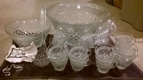 Glass Full set party punch bowls with glass cups ,hangers, and ladle in Columbus, Ohio
