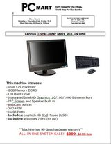 """Lenovo thinkcentre m92z all in one 23"""" i5 8GB 1TB win 7 pro kb + mouse in Naperville, Illinois"""