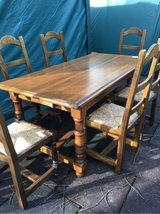 antique big solid wood table 6 chairs in Ramstein, Germany