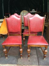 4 nice wood red leather chairs in Ramstein, Germany