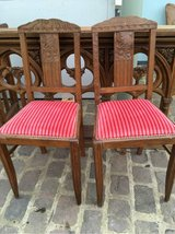 2 nice antique wood and velvet chairs from France in Ramstein, Germany