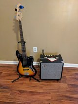 Fender Squire Bass and Fender amp with tuner and stand in Hinesville, Georgia