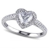 ***REDUCED***BRAND NEW***Clear Heart Cut Halo Ring***SZ 7 in Cleveland, Texas