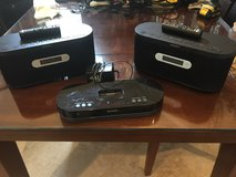 Sony iPod dock with 2 bluetooth portable speakers in Spring, Texas