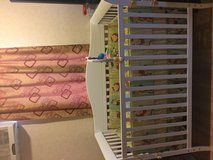 Baby crib with mattress and animal (blanket, crib guard, bed skirt) and toy in Okinawa, Japan