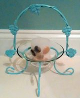 Ocean Blue Decorative Metal & Glass Candle Holder w/ Candle in Wilmington, North Carolina