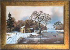 Skating across the ice (1975) by Charles Comber (Original Oil Painting) in Cambridge, UK