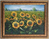 Sunflowers (1987) by Charles Benoit (Original Oil Painting) in Lakenheath, UK