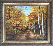 Autumns Afternoon Stroll (1994) by Olive Coker (Original Oil Painting) in Cambridge, UK