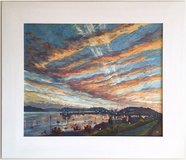 Falmouth Harbour Sunset, Cornwall (2007) by Anne Plummer (Original Acrylic Painting) in Cambridge, UK