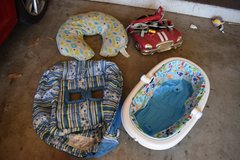 Baby bath, feeding pillow, boppy cart cover, and car doorway jumper in Vista, California