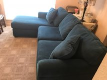 Beautiful blue oversized couch with chaise in Conroe, Texas